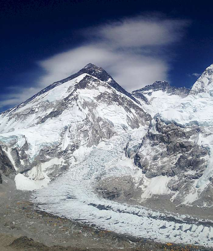 Nepal - Looking across at Mt. Everest and down on Everest Base Camp from Pumori Camp 1