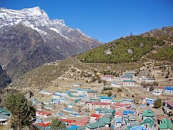 Nepal - Kongde Ri peak above Namache Bazaar - main trading center in the Khumbu Valley