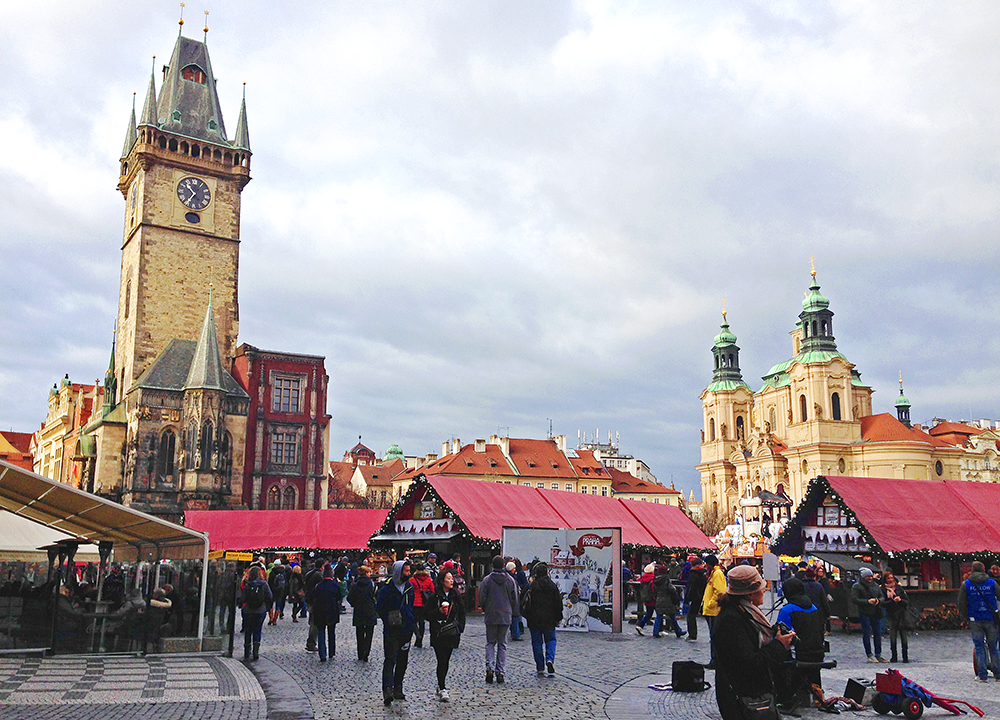Old Town Square - Clock Tower and St. Nicholas Church